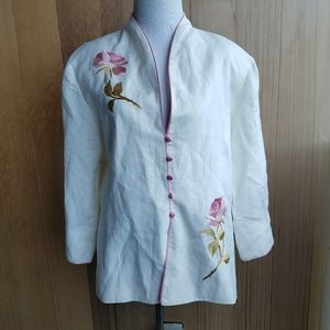 Vintage Embriodered Pink Rose White Blazer Jacket
